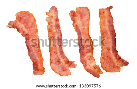Four cooked, crispy fried bacon isolated on a white background. Good for many health and cooking inferences. - stock photo