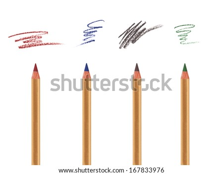 Four cosmetic pencils isolated on white with sample strokes. Eye, brow and lip liner. - stock photo