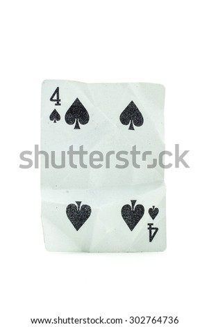 four Crumpled Playing Card