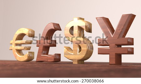 Four currency symbols - dollar, yen, pound and euro.