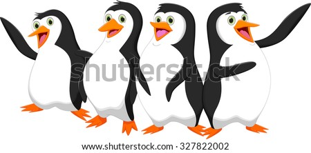 four cute cartoon penguin - stock photo