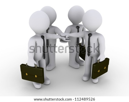 Four 3d businessmen are joining hands - stock photo