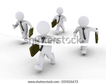 Four 3d businessmen are racing and one is cutting the finishing line - stock photo