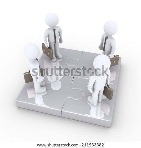 Four 3d businessmen are standing on connected puzzle pieces - stock photo