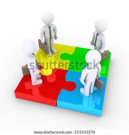 Four 3d businessmen are standing on different colored puzzle pieces - stock photo