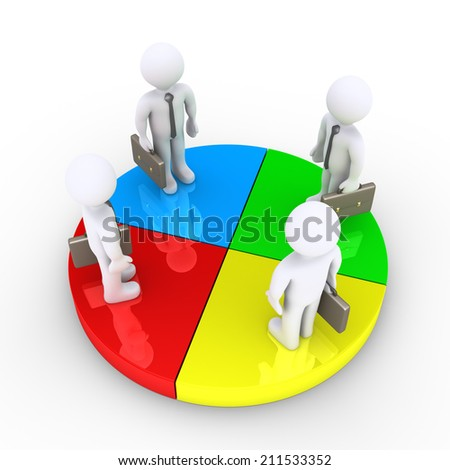 Four 3d businessmen are standing on equal pie chart slices - stock photo