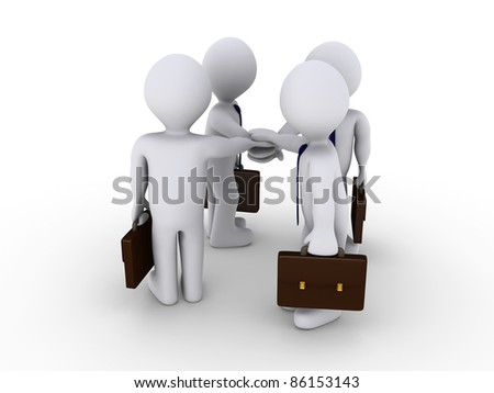 Four 3d businessmen hold their hands together as an oath - stock photo