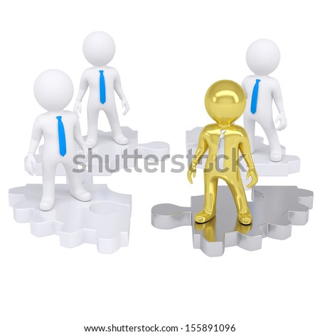 Four 3d people standing on the gear consisting of puzzles. Isolated render on a white background