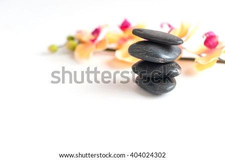 four dark gray stone against the bright Orchid colors on a light background - stock photo