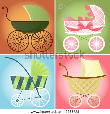 Four different baby stroller styles for baby boys and girls - stock photo