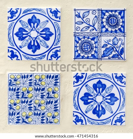 four different blue colored Moroccan style tiles