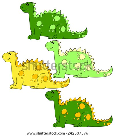 four different colors dragons or dinosaurs