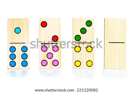 four different dominoes on white background - stock photo