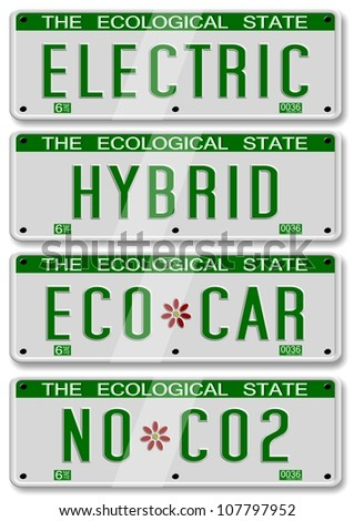 four different electric and hybrid car number plates / electric hybrid car plates - stock photo