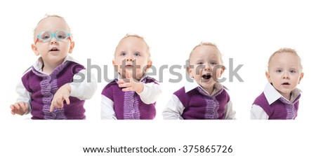 Four different emotions and feelings of the child on a picture - stock photo