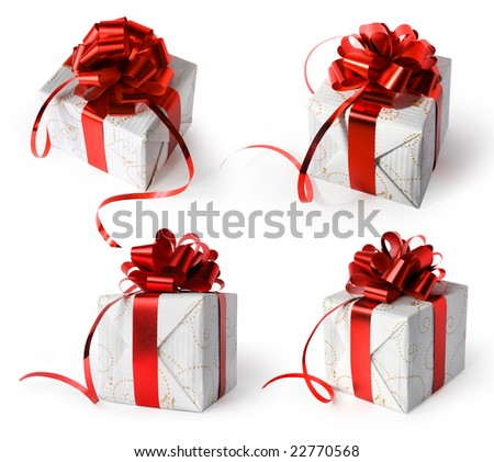 Four different presents on white background