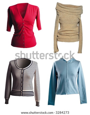 Four different shirt isolated on white - stock photo