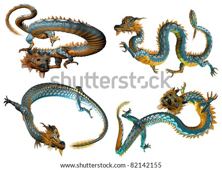 Four different views of a chinese style dragon isolated on a white backdrop