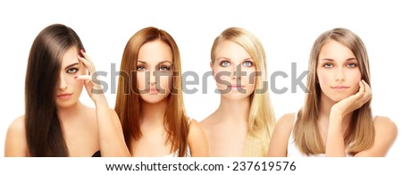 Four different women. Blonde and brunette - stock photo