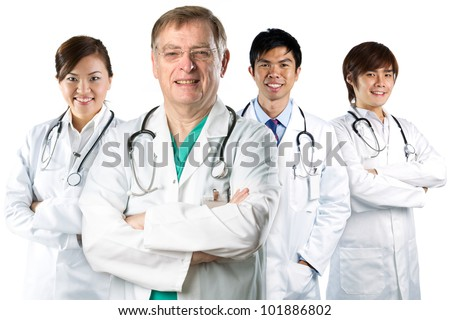 Four doctors wearing a white coats with stethoscope's. Isolated on white. - stock photo