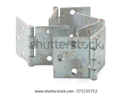 Four door hinges isolated on white background. - stock photo