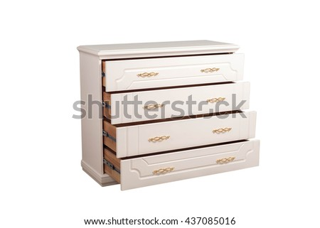 Four drawers modern dresser isolated on white - stock photo
