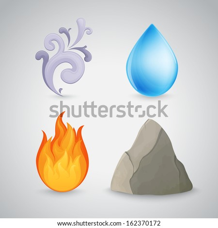 Four element icons - earth, air, fire and water. Highly detailed. Raster version - stock photo