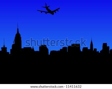 four engine plane arriving in Midtown Manhattan skyline JPEG - stock photo