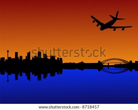 four engine plane flying towards Sydney with harbour bridge at sunset JPG - stock photo