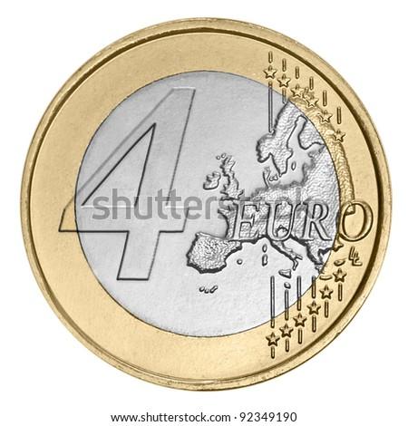 Four euro coin on white - stock photo