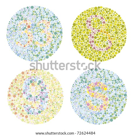 four examples of test ishihara with letters and numbers - stock photo