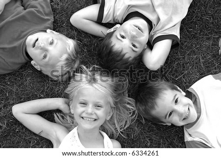 Four Faces in Black and White - stock photo