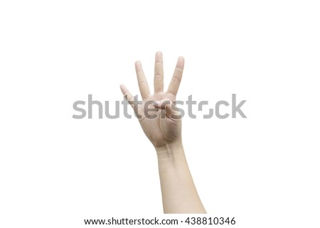 Four fingers isolated on white background. Clipping path