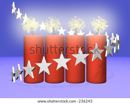 four fireworks with sparks and a spiral star pattern over blue background
