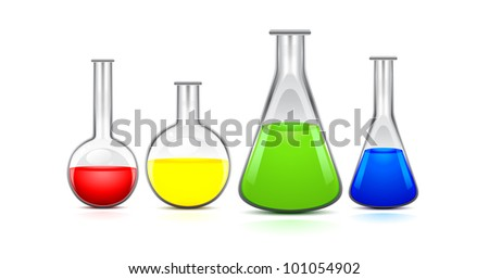 four flasks of different sizes with colored liquid on a white background