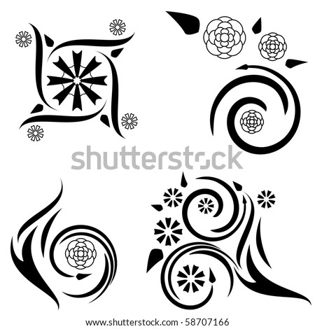 set four tattoo designs flame plant stock vector 58707175 shutterstock. Black Bedroom Furniture Sets. Home Design Ideas