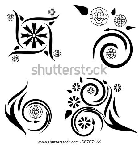 set four tattoo designs flame plant stock vector 58707175 shutterstock. Black Bedroom Furniture Sets. Home Design Ideas