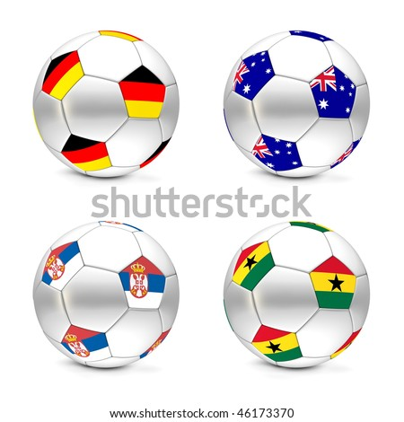 four footballs/soccer balls with the flags of Germany, Australia, Serbia and Ghana - world championship South Africa 2010 group D