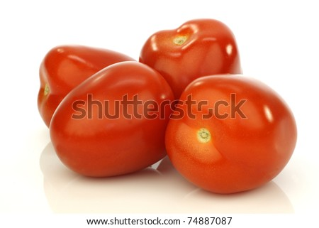 four fresh and colorful italian plum tomatoes on a white background - stock photo