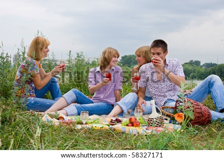 Four friends having fun at the picnic - stock photo