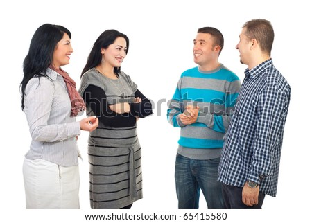 Four friends meeting and having funny conversation isolated on white background