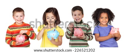 Four funny children with money-box isolated on a white background - stock photo