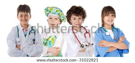 Four future workers on a over white background - stock photo