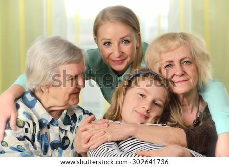 Four generations of women. Happy family. - stock photo
