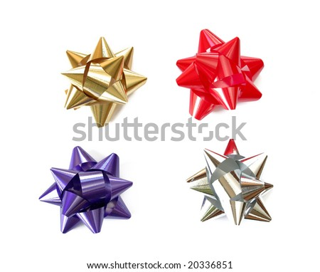 Four gift bows isolated on a white background. - stock photo