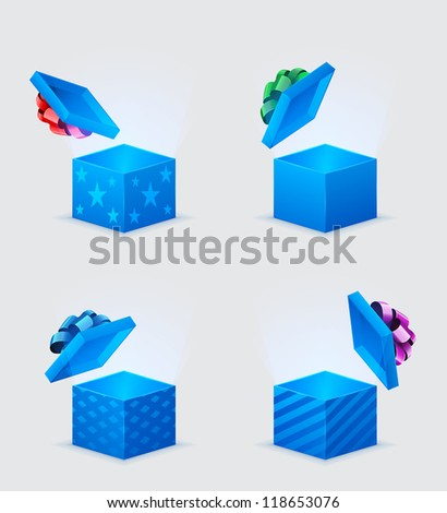 four gift boxes and flying cover with bow