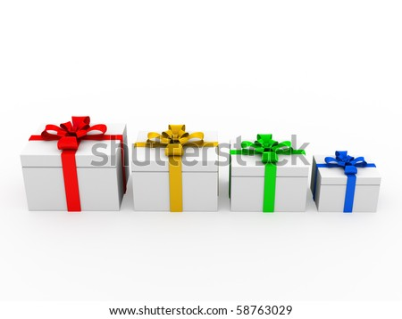 four gift boxes standing in a row - stock photo