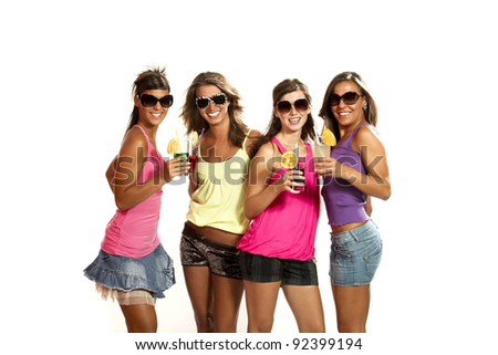 four girls at a party, studio portrait