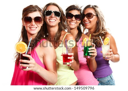 four girls fun with a drink, portrait in studio, isolated on white background
