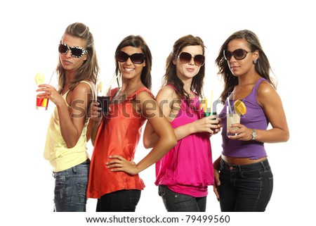 four girls have fun at the party, studio portrait - stock photo